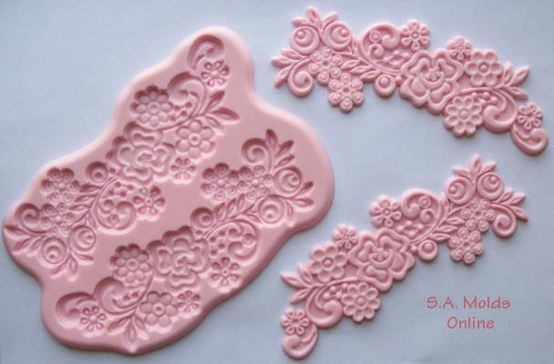 Flower with Scroll Lace Silicone Mold
