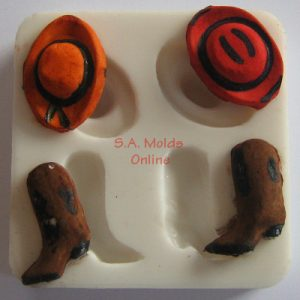 Cowboy Hat and Boot Set Silicone Mold